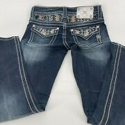 Miss Me Jeans Buckle Style Me8179br Midrise Boot Color Dk 222b Inseam 31 Size 27