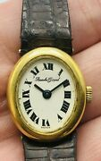 Vintage Bueche-girod 18k Solid Yellow Gold Oval Watch With Roman Dial