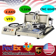 1500w Vfd 4 Axis Usb Cnc 6040t Router Milling Engraver Pcb Wood Drilling Machine