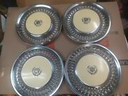 Lot Of 4 1977 Cadillac Fleetwood Painted Hubcaps Yellow