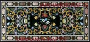 5and039x2.5and039 Black Marble Table Top Dining Center Coffee Inlay Malachite Floor D144