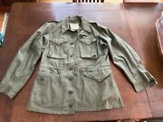 Vtg Wwii M1943 Field Jacket 38lg Us Army Military Green