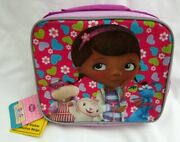 Doc Mcstuffins 9.5 Hearts And Flowers Insulated Purple Lunchbox Lunch Bag-new