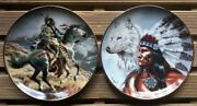 Lot Dand039assiettes Franklin Spirit Of The White Wolf / Geat Spirit Guide My Hand