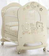 Nursery Furniture Baby Full Size Cot With Wheels Moon Star Teddy Bear Design New