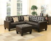 Espresso Faux Leather Sectional Sofa Set Loveseat Wedge Ottoman Modern Couch