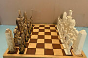 Egyptian Hand Crafted Chess Set King 6 Carved Camel Bone W/o Board