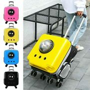 Portable Space Astronaut Pet Cat Backpack Trolley Dog Puppy Carrier Bag Wheel