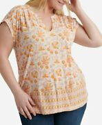 Lucky Brand Plus Size Woodblock Print Top In Natural Multi 3x New With Tags