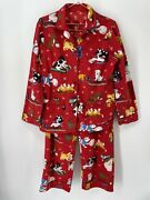 Nick And Nora Dogs And Snow Womenand039s Size M Flannel Pajama Set Red Puppies Sleds