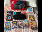 Nintendo Switch Hac-001-01 Console With Games And Case Crash Sonic Ctr Wwe New
