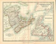 1911 Large Victorian Map Dominion Of Canada Eastern Sheet New Brunswick