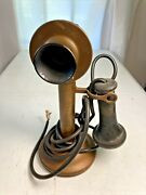 Western Electric 323bw Antique Brass Candlestick Phone 1920s Telephone