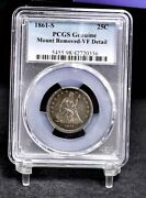 1861-s Liberty Seated Quarter - Pcgs Vf Details 38113