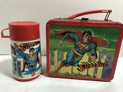 Vtg Superman Lunchbox And Thermos 1978 Aladdin Industries Dc Comics