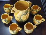 Roseville Pottery Cider Pitcher Set-complete-classic Price Reduced