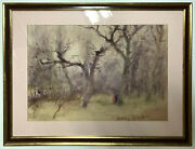 Painting Watercolor Hungarian Modernism C1950 Budapest Park Impressionist