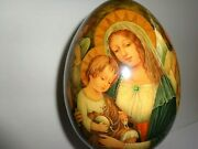 Superb Large 7.5and039and039 Hand Painted Raphael Madonna Jesus Icon Wooden Egg Signed