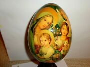Gorgeous Large 7and039and039 Hand Painted Raphael Madonna Jesus Icon Wooden Egg Signed