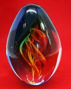 Blue And Orange Sommerso Art Glass Paperweight Controlled Spiral Air Twist Bubbles