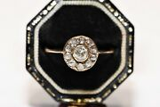 Antique Victorian 14k Gold Natural Diamond And Rose Cut Diamond Rose Style Ring