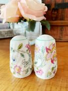 Haddon Hall English Minton Bone China Floral Salt And Pepper Shakers In Box