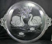 Round Clear Glass Serving Tray Appetizer Frost Swan Design12.5andrdquo Dia Raised Base
