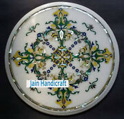 24and039and039 White Marble Table Top Corner Center Inlay Malachite Lapis Round C15