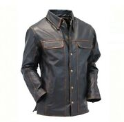 Menand039s Soft Vintage Brown Leather Slim Fit Button Up Shirt W/ccw Pockets