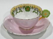Rare Aynsley Daisy Flower Handle Cup And Saucer Art Deco Pattern Hand Paint Enamel