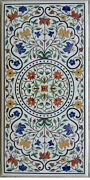 4and039x2and039 White Marble Table Top Coffee Center Pietra Dura Inlay Antique H1