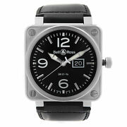 Bell And Ross Grande Date 46mm Steel Black Dial Automatic Mens Watch Br01-96-s
