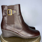 Aerosoles Brown Buckle Wedge Ankle Boot - Size 9m