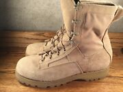 Wellco Mens Desert Tan Suede Army Combat Boots Steel Toe Sz. 11.5 R Excellent