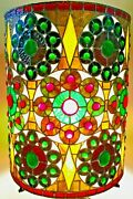 Round Barrel Studio Crafted Stained Glass Lamp Shade Jewels Globs 17 X 13 Nice