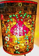Round Barrel Studio Crafted Stained Glass Lamp Shade Hanging Plants 17 X 13