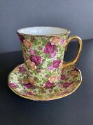 Royal Albert Old Country Roses Chintz Collection 1999 Coffee Mugs Cup And Sauce