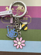 New Coach Spring Garden Mix Key Fob - Silver Tone - Multi-color Charms F 64380