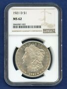 1921 D Ngc Ms62 Morgan Silver Dollar 1 Rare Date Coin 1921-d Ms-62 Looks Pl