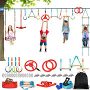 65ft Kids Ninja Rope Obstacle Training Climbing Course Warrior Fitness Equipment
