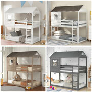 Twin Over Twin Bunk Beds Wood Loft Bed With Roof Window Guardrail For Kids Teens