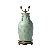 Antique Lamp Vase Chinese Porcelain Qing Period Cantonese With Ideograms
