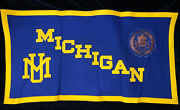 University Of Michigan 1930's Wool Felt Banner Chipenco Pennant Leather Seal