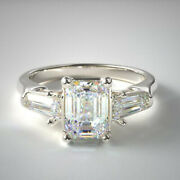 1.40 Ct Labo Grown 3-stone Anneau Mariage Diamant Solide 14k Blanc Or Taille 5 6