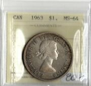 Canada 1963 Silver Dollar Iccs Certified Ms-64