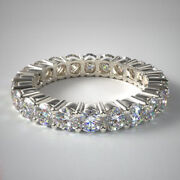 Lab Grown Diamond Wedding Eternity Band 2.00 Ct Solid 14k White Gold Size 5 6 7