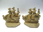 Antique Pair Metal Cast Iron Ship Old Ironsides Decorative Book Ends Bookends