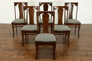 Set Of 6 Oak Antique Craftsman Farmhouse Dining Chairs, New Seats, Sikes 36832