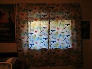 Vintage Military Ww Ii Airplanes Drapes Curtains Kids Childrens Fabric 70s