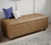 Tufted Storage Ottoman Bench Foot Stool Rectangular Faux Leather Brown 50